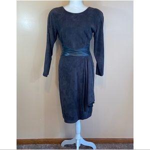 Vakko- Vintage Black Suede/Leather Open Back Dress
